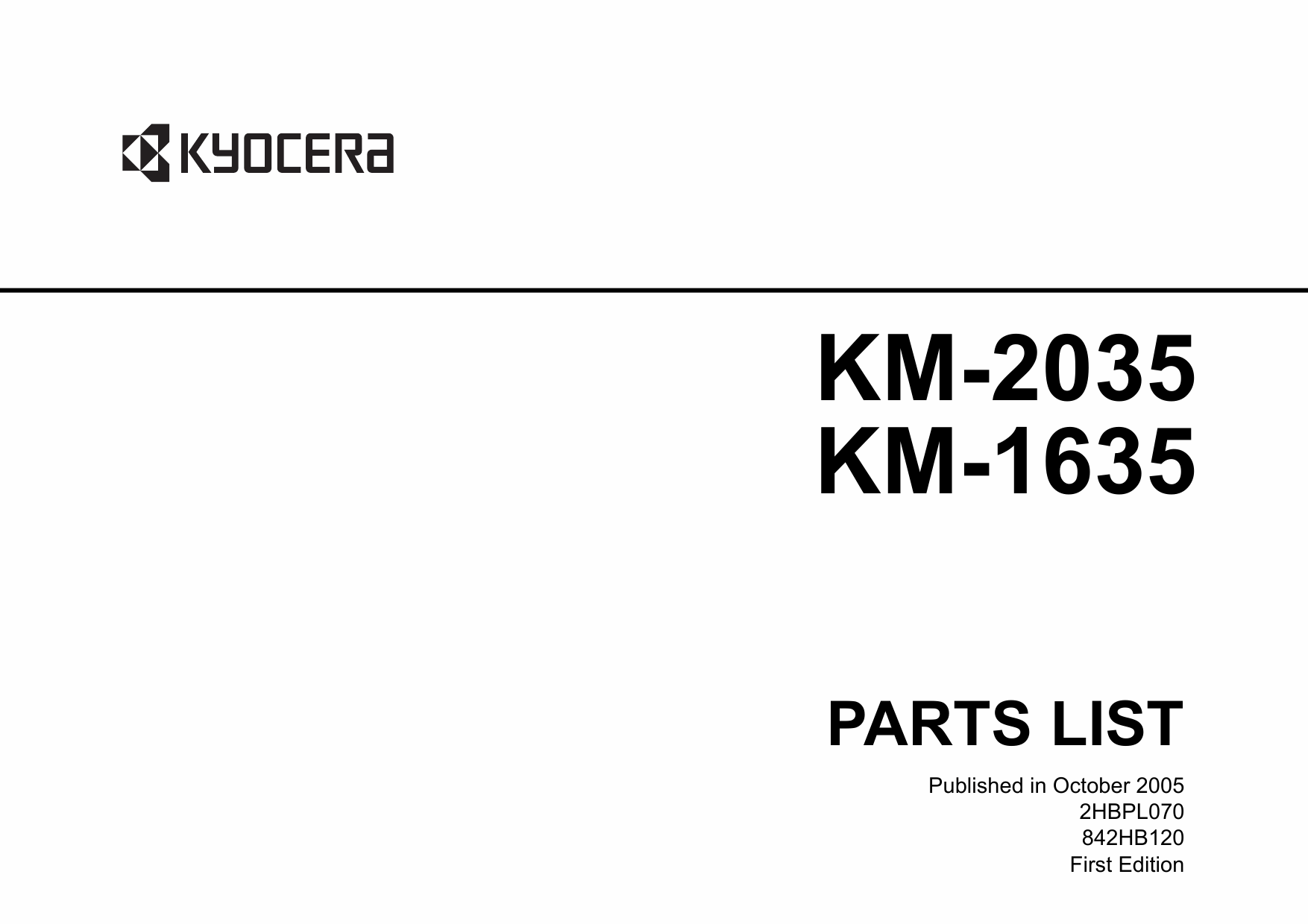 KYOCERA Copier KM-1635 2035 Parts Manual-1